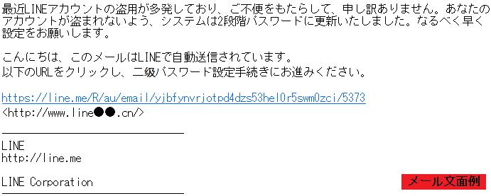 LINEフィッシングメールの例